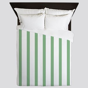 Green and white Thin Stripes Queen Duvet