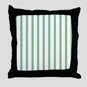 Green and white Thin Stripes Throw Pillow