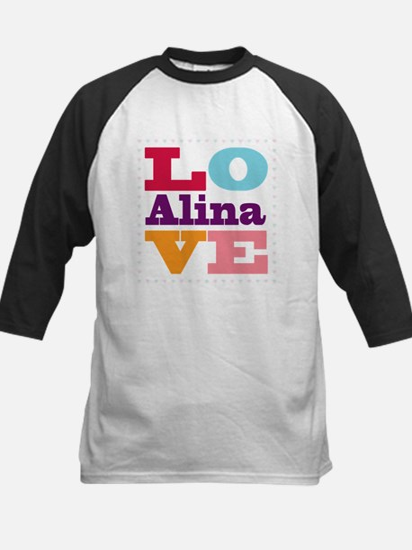 I Love Alina Kids Baseball Jersey