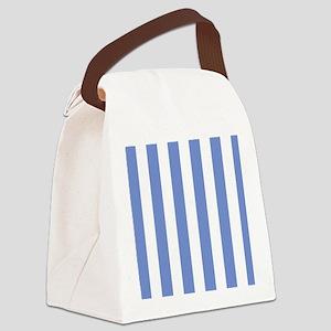 Sky Blue Stripes Canvas Lunch Bag