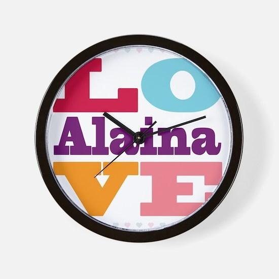 I Love Alaina Wall Clock
