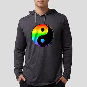 Rainbow Yin Yang Symbol Mens Hooded Shirt