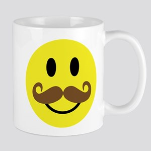 mustache smiley face mug
