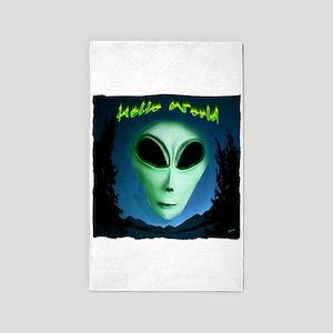 hello world alien grey art illustration 3'x5' Area