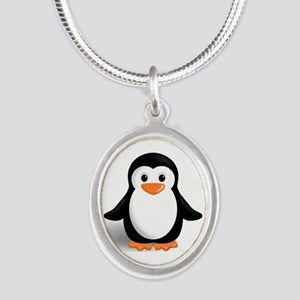 penguin Silver Oval Necklace