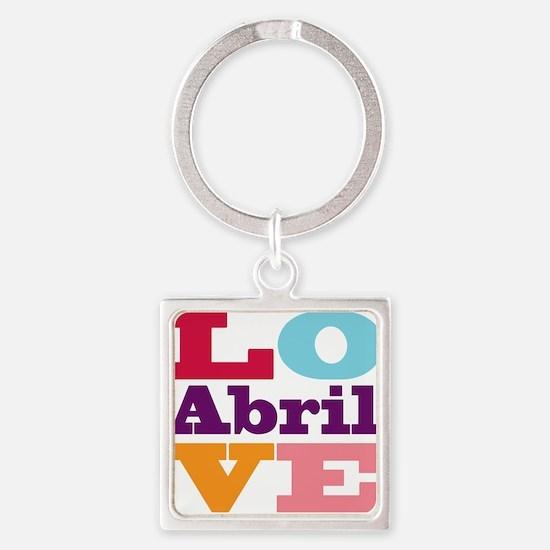 I Love Abril Square Keychain