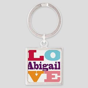 I Love Abigail Square Keychain