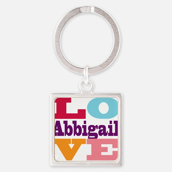 I Love Abbigail Square Keychain