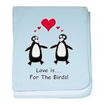 Love For Birds Penguins baby blanket