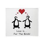Love For Birds Penguins Throw Blanket