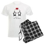 Love For Birds Penguins Men's Light Pajamas