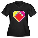 Ghost Heart Women's Plus Size V-Neck Dark T-Shirt