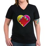 Ghost Heart Women's V-Neck Dark T-Shirt