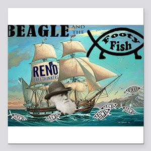 """Beagle and the Footy Fish Square Car Magnet 3"""" x 3"""