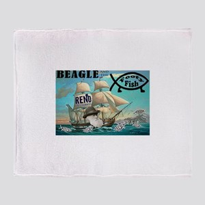 Beagle and the Footy Fish Throw Blanket