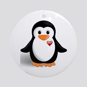 penguin with heart Ornament (Round)