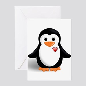 penguin with heart Greeting Card
