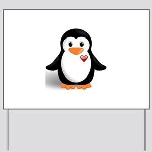 penguin with heart Yard Sign