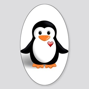 penguin with heart Sticker (Oval)