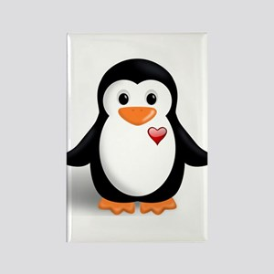 penguin with heart Rectangle Magnet
