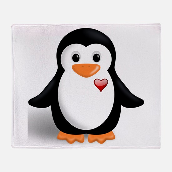 penguin with heart Throw Blanket