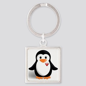 penguin with heart Square Keychain