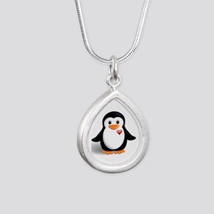 penguin with heart Silver Teardrop Necklace
