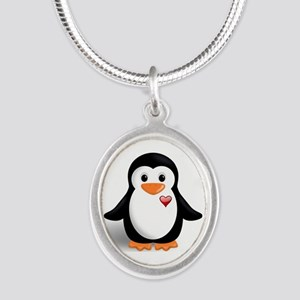penguin with heart Silver Oval Necklace