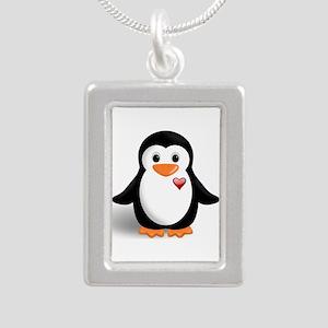 penguin with heart Silver Portrait Necklace