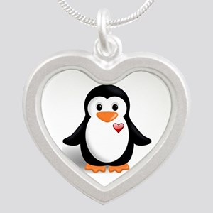 penguin with heart Silver Heart Necklace