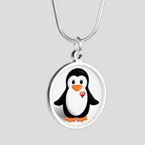 penguin with heart Silver Round Necklace