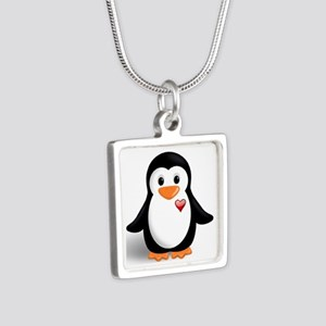 penguin with heart Silver Square Necklace