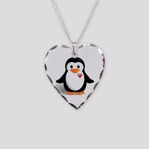 penguin with heart Necklace Heart Charm