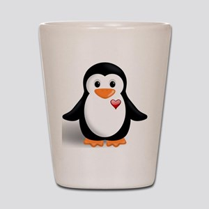 penguin with heart Shot Glass