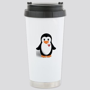 penguin with heart Stainless Steel Travel Mug