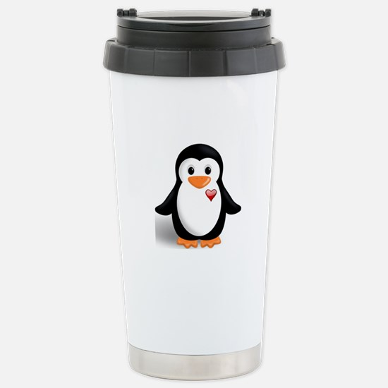 penguin with heart Stainless Steel Travel Mug