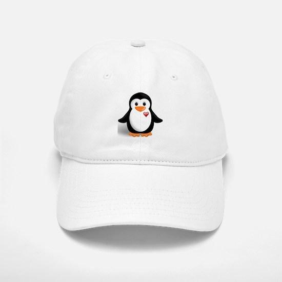penguin with heart Baseball Baseball Cap
