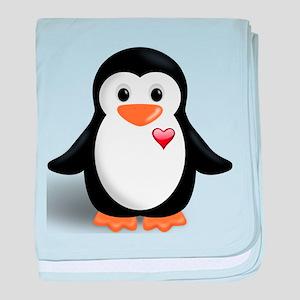 penguin with heart baby blanket