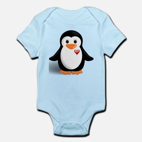 penguin with heart Infant Bodysuit