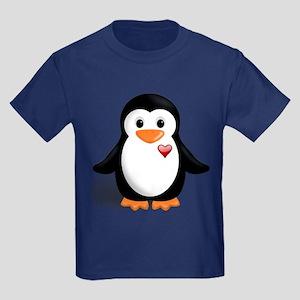 penguin with heart Kids Dark T-Shirt