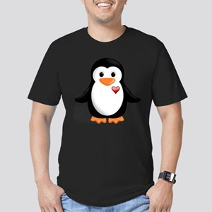 penguin with heart Men's Fitted T-Shirt (dark)