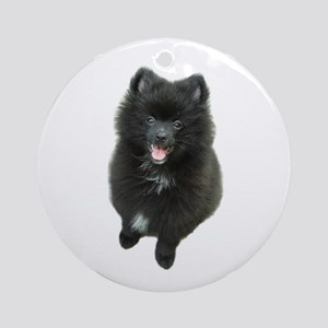 Adorable Black Pomeranian Puppy Dog Ornament (Roun
