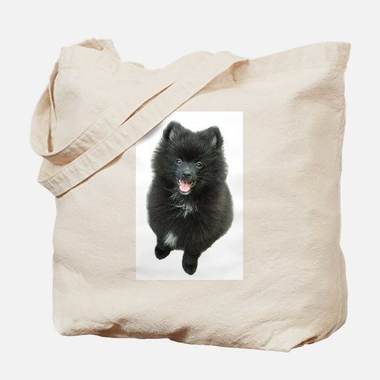 Adorable Black Pomeranian Puppy Dog Tote Bag