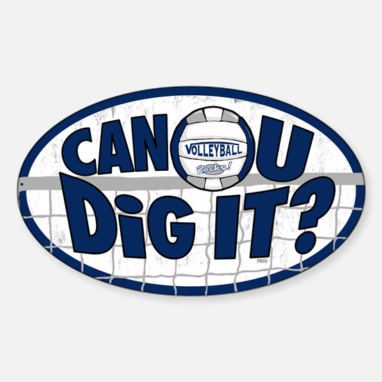 Dig It Dark Blue Sticker (Oval)