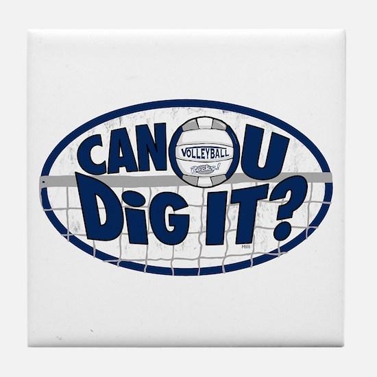 Dig It Dark Blue Tile Coaster