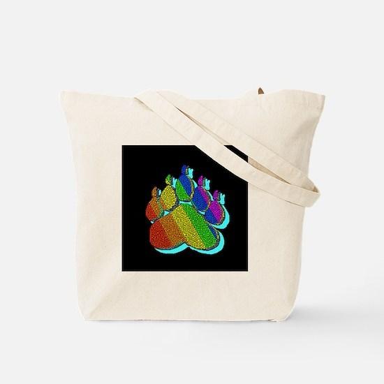 TEAL SHADOWED RAINBOW TILED Tote Bag