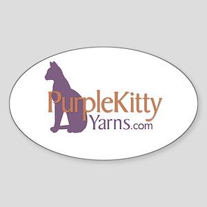 Purple Kitty Sticker (Oval)