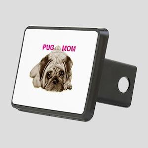 pug mom Rectangular Hitch Cover