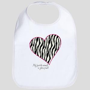 Zebra Print Heart Bib