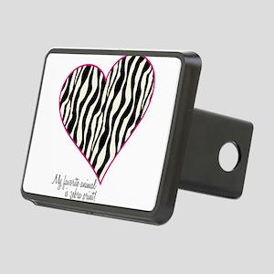 Zebra Print Heart Rectangular Hitch Cover